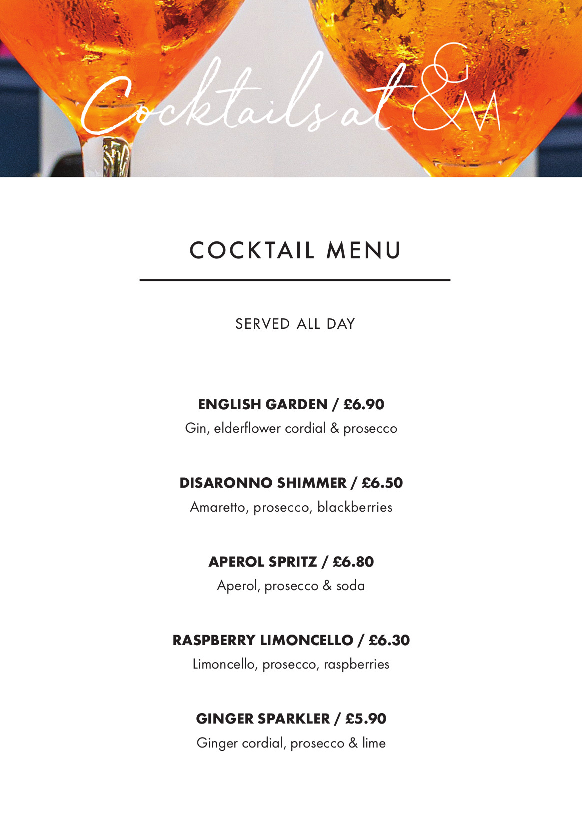 Cafe67 cocktail Menu AW 1pp